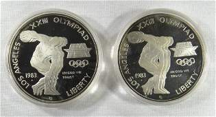 2  1983 PROOF OLYMPIC SILVER DOLLARS