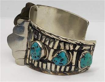 LARGE STERLING NAVAJO CUFF WATCH BAND