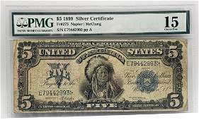 """$5 1899 """"Indian Chief"""" Silver Cert. PMG 15 Choice"""