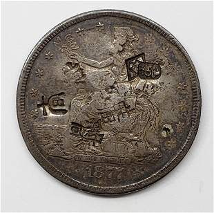 1877-S TRADE DOLLAR w/CHOP MARKS