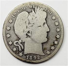 1892-O BARBER HALF DOLLAR - KEY DATE