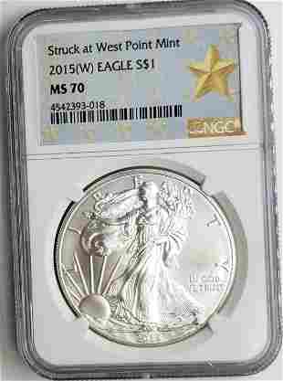 2015 (W) AM SILVER EAGLE NGC MS70