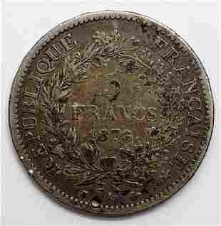 1876-A France 5 Francs w/ Hercules