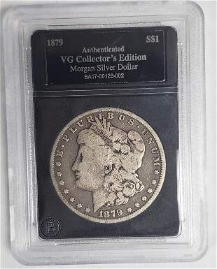 1879 Morgan Silver Dollar - Authenticated VG