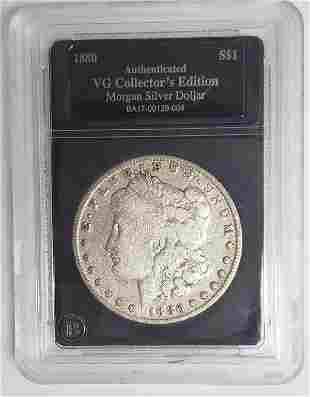 1880-O Morgan Silver Dollar - Authenticated VG