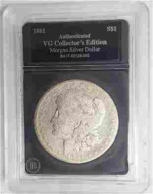 1881 Morgan Silver Dollar - Authenticated VG