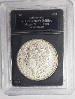 1883 Morgan Silver Dollar - Authenticated VG