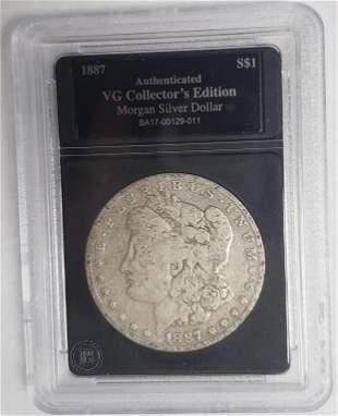 1887  Morgan Silver Dollar - Authenticated VG