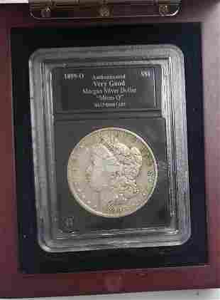 1899-O Morgan Silver Dollar - Micro O - W/Wood Cas