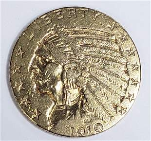 1910 $5 INDIAN GOLD COIN