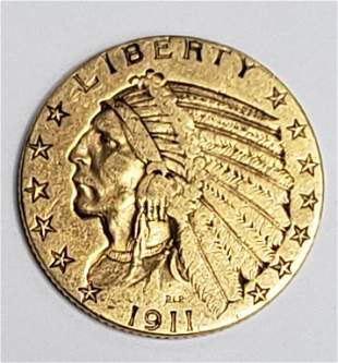 1911 $5 INDIAN GOLD COIN