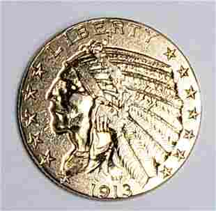 1913 $5 INDIAN GOLD COIN