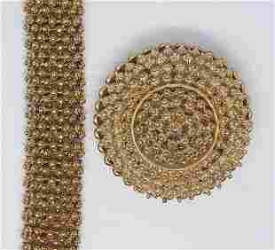 SET! VTG CORO GOLD TONED DOME BROOCH AND
