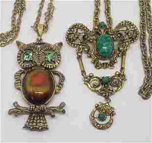 2-VINTAGE GOLD TONED NECKLACES: (1)OWL WITH
