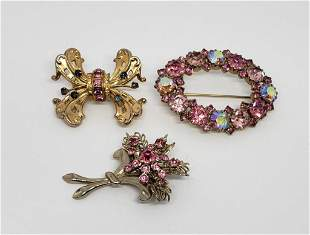 3-VINTAGE GOLD TONED PINK RHINESTONE BROOCHES