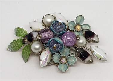 GORGEOUS VINTAGE TEAL AND PUPLE FLOWER
