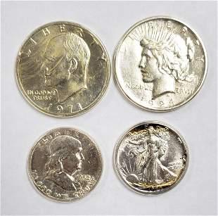 (4) BU SILVER U.S. COINS - 1924 PEACE