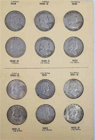 FRANKLIN HALF DOLLAR SET 1948-1963