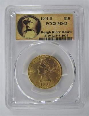 1901-S $10 LIBERTY HEAD GOLD PCGS MS63