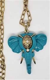 VINTAGE NOLAN MILLER TURQUOISE LUCITE ELEPHANT