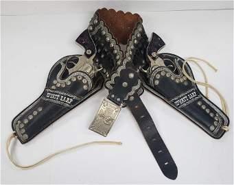 RARE WYATT EARP Double BLACK LEATHER Holster Set