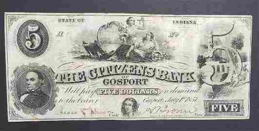 1857 $5 THE CITIZENS BANK of GOSPORT INDIANA