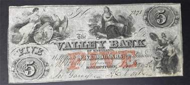 1856 $5 THE VALLEY BANK of MARYLAND