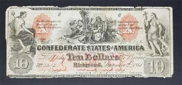 1861 $10 CONFEDERATE STATES of AMERICA