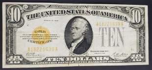 1928 $10 U.S. GOLD CERTIFICATE