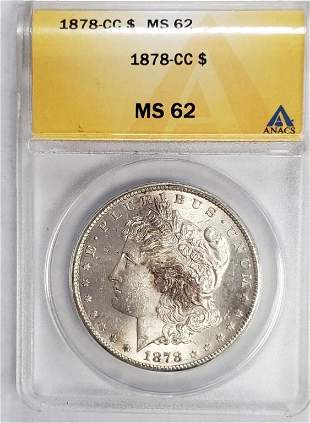1878-CC MORGAN DOLLAR ANACS MS62