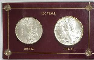 US Silver Dollars 100 Years in Capital Holder 1886