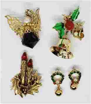 VINTAGE GOLD TONED CHRISTMAS JEWELRY LOT: