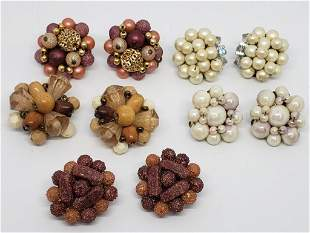 6-PAIRS OF VTG BEADED CLIP ON EARRINGS