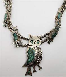 NAVAJO TURQUOISE OWL SQUASH BLOSSOM NECKLACE