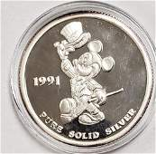 "1991 Mickey Mouse ""Mickey Celebrates"" 1ozt .999 Fi"