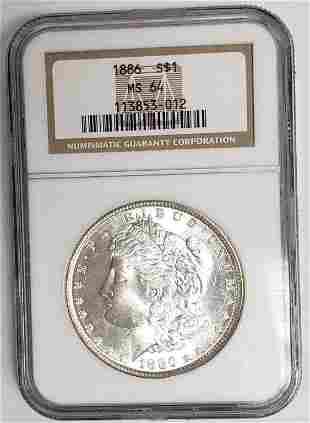 1886 Morgan Silver Dollar NGC MS64