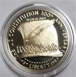 1987 US Constitution Commemorative Silver Dollar