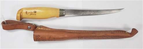 Vintage J. Marttiini Finland Fish Knife W/Sheath