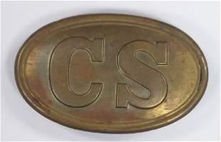 "Reproduction Confederate ""CS"" Oval Belt Buckle"