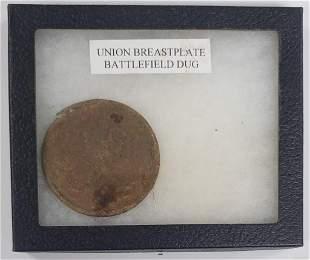 Civil War Union Breast Plate - Battlefield Dug