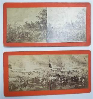 2 Civil War Scenes Sterioview Battle Of Gettysburg
