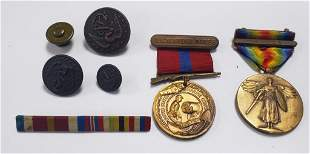 WWI US Marines Medals, Ribbons, & Buttons - France