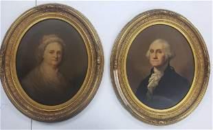 Antique George & Martha Washington Oil Color Portr