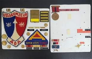 WWII Patch, Pin, Button, Medal Lot - 7th Army