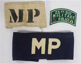WWI - WWII US Army Military Police Arm Bands 25th