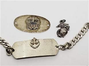 WWII US Navy & Marines Sterling Bracelets & Pendan
