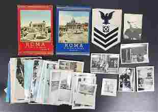 WWII US Navy Soldier Photos, Postcards, Patch
