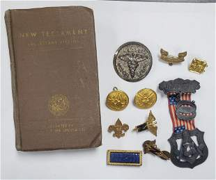 Various Military Pins, Buttons, Ribbon, & Bible