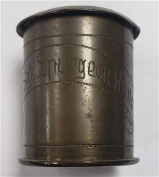 WWI Trench Art 37mm Round W/Lid - Named