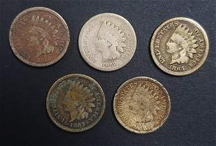 5-COPPER/NICKEL INDIAN HEAD CENTS